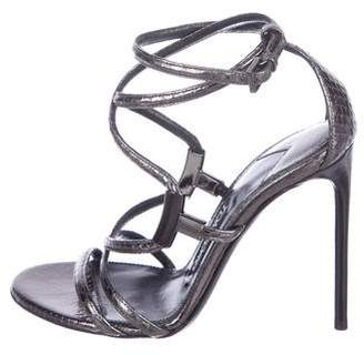 Tom Ford Snakeskin Ankle Strap Sandals