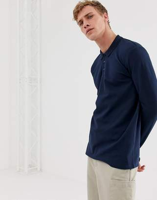Selected long sleeve polo shirt in organic cotton