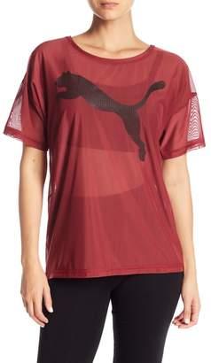 Puma Logo Drapey Mesh Tee