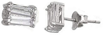 FINE JEWELRY Sterling Silver Rhodium 2x6mm Baguette-Cut Cubic Zirconia Stud Earring