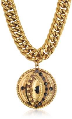 Roberto Cavalli Antique Goldtone Metal Choker W/lucky Eye Coin Pendant
