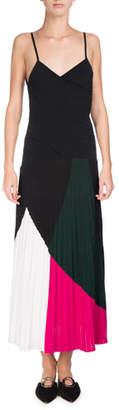 Proenza Schouler Colorblock Sunburst-Pleat Camisole Midi Dress, Multicolor