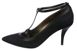 Lanvin Embossed T-Strap Pumps