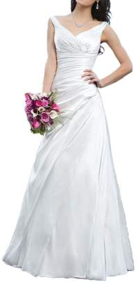MILANO BRIDE Concise Wedding Evening Dress Double V-neck A-line Pleated Satin-US size
