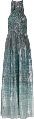 Rachel Zoe - Deven Printed Silk-blend Lamé Gown - Blue $995 thestylecure.com