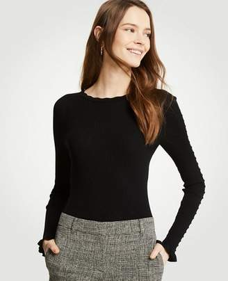 Ann Taylor Petite Ribbed Ruffle Cuff Sweater