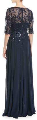 Rickie Freeman For Teri Jon Lace Gown w/ Chiffon Overlay Skirt