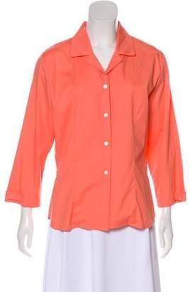 Neiman Marcus Notch-Collar Button-Up Top