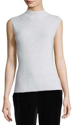 Joan Vass Mock-Neck Metallic Shell, Petite