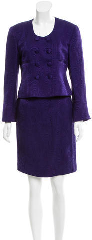 Christian Dior  Christian Dior Silk Double-Breasted Skirt Suit