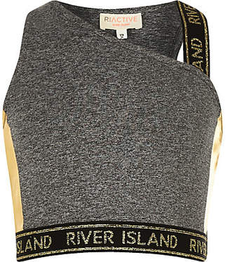 River Island Girls RI Active grey one shoulder crop top