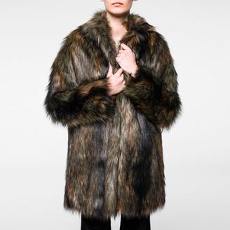 Women's Mixed-Colour Faux Fur Coat $595 thestylecure.com