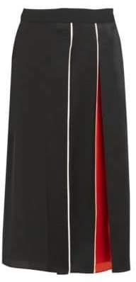 Givenchy Women's Crepe Envers Satin Midi Skirt - Black - Size 40 (8)