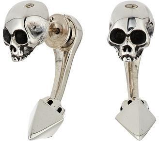 King Baby Studio - Skull Tunnel Earrings w/ Pyramid Back Earring $215 thestylecure.com