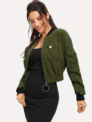 Shein Drop Shoulder O-ring Zip Bomber Jacket