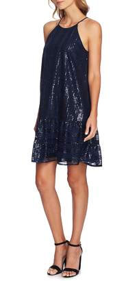 CeCe Sequin Ruffle Trim Dress