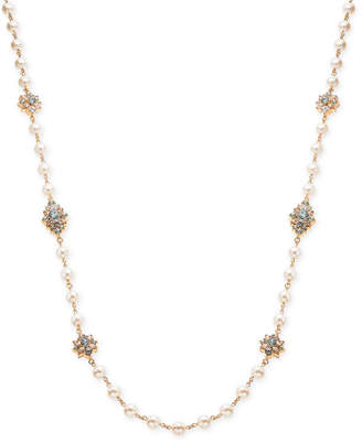 """Charter Club Gold-Tone Imitation Pearl & Crystal Long Necklace, 42"""" + 2"""" extender"""