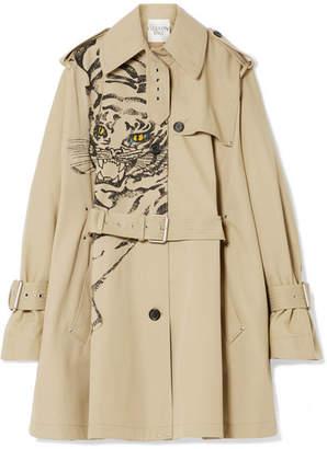 Valentino Printed Gabardine Trench Coat - Beige