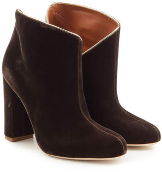 Malone Souliers Eula Velvet Ankle Boots with Leather