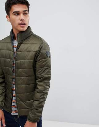 Burton Menswear quilted jacket with funnel neck in green