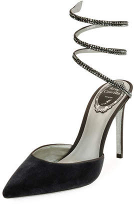 Rene Caovilla Crystal Snake 100mm Pump, Gray