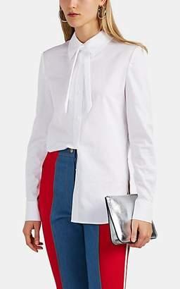 BESFXXK Women's Keyhole Cotton Poplin Blouse - White