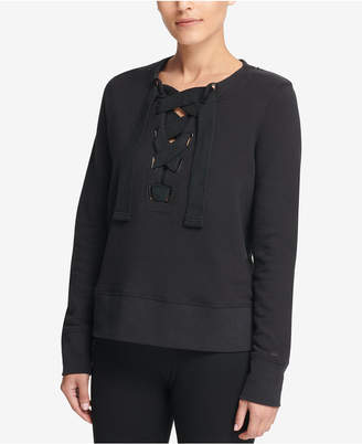 DKNY Sport Cotton Lace-Up Sweatshirt, Created for Macy's