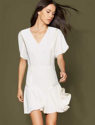 Halston Short Sleeve Tape Detail Flounce Dress