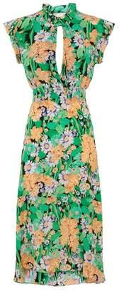 Sandro Floral Silk Midi Dress