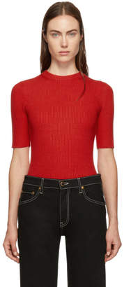 3.1 Phillip Lim Red Ribbed Short Sleeve Sweater