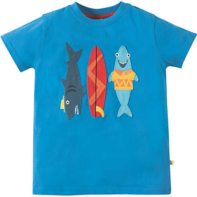 Frugi Organic Boys' Stanley Sharks T-Shirt, Blue