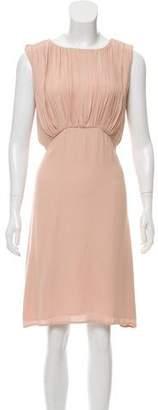 L'Agence Pleated Crepe Dress