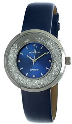 Peugeot Women's 'Diamond' Quartz Metal and Leather Dress Watch