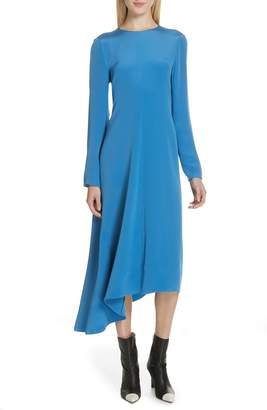 Tibi Asymmetrical Tie Back Silk Dress