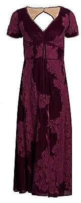 Marchesa Women's Velvet Lace A-Line Cocktail Dress