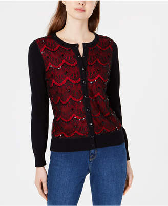 Charter Club Lace-Front Cardigan Sweater