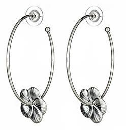 Yochi Design Yochi Flower Hoop Earrings