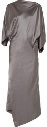 Vivienne Westwood Draped Hammered Silk-satin Midi Dress - Gunmetal