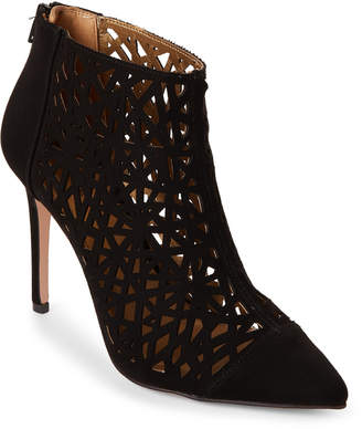 BCBGeneration Black Hanie Laser Cut Pointed Toe Booties