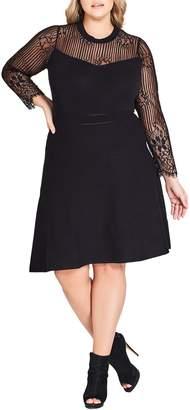 City Chic Lace Yoke Fit & Flare Dress