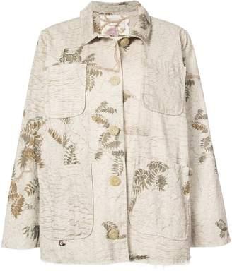 By Walid oversized foliage print denim jacket
