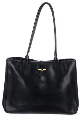 Pre Owned At Therealreal Longchamp Leather Roseau Tote