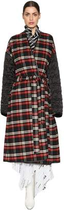 Balenciaga Plaid Flannel & Quilted Nylon Coat