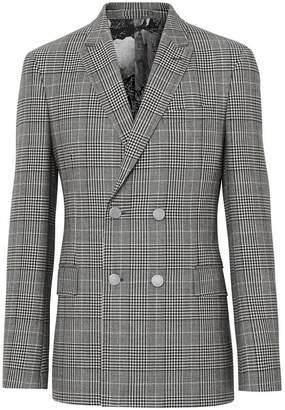 Burberry Slim Fit Check Wool Double-breasted Jacket