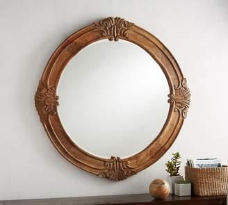 Pottery Barn Mendosa Round Wood Mirror