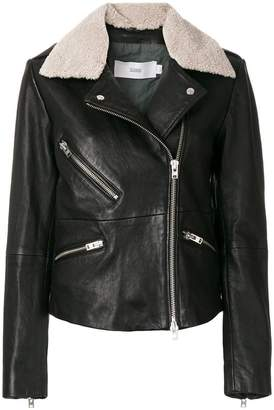 Closed faux sheepskin collar jacket