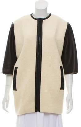 Alice + Olivia Leather-Trimmed Zip-Up Coat