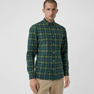 Burberry Check Cotton Shirt , Size: M, Blue