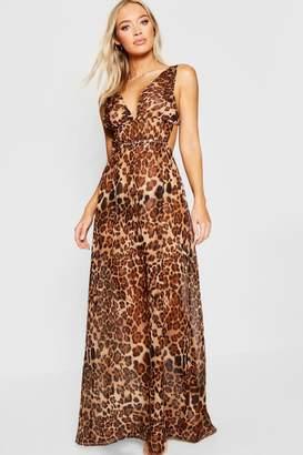 boohoo Leopard Print Beach Maxi Dress