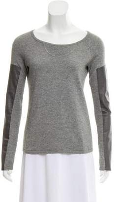 Aiko Leather-Accented Long Sleeve Sweater